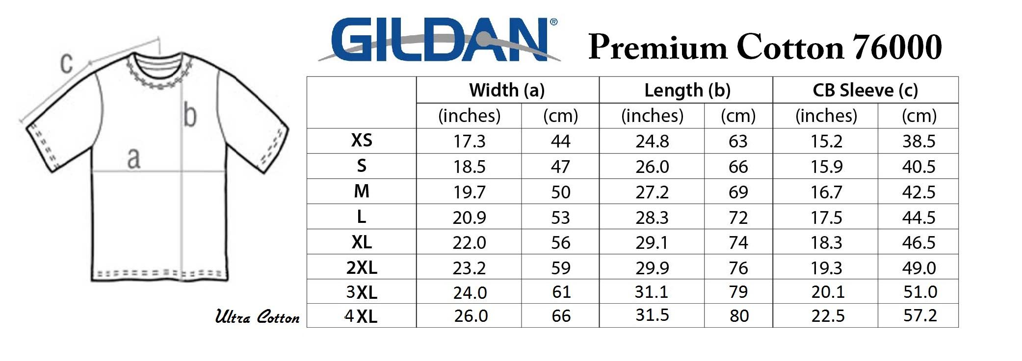 Gildan-76000-Size-Charts